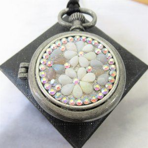 Artisan Crafted Genuine Opal Swarovski Crystal Set Locket